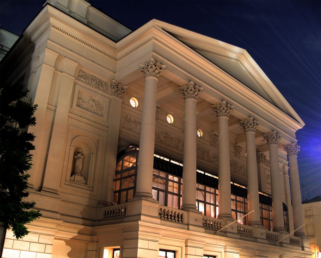 Royal Opera House exterior by night
