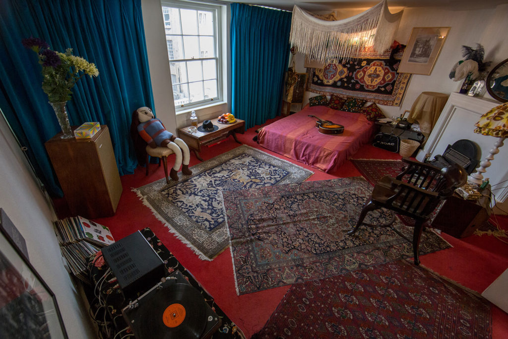 Interior of Jimi Hendrix bedroom reconstruction, Handel and Hendrix in London