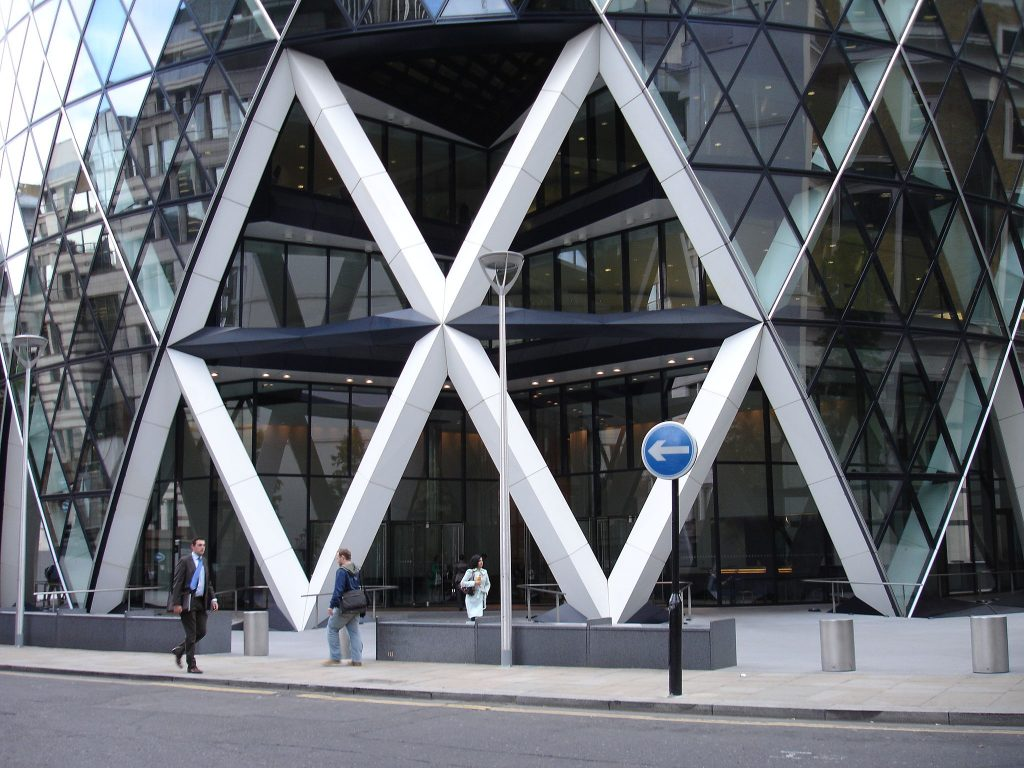 View of entrance to 30 St Mary Axe