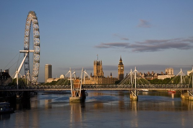 Photograph of the Thames showing the Golden Jubilee bridge and the wheel with Parliament in the background