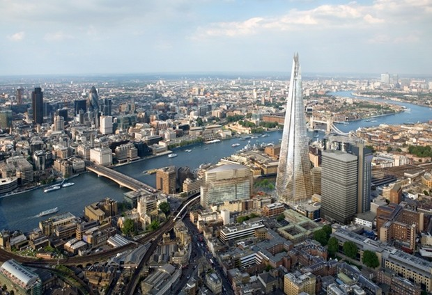 Photograph of London skyline with the Thames through the middle and The Shard on the right