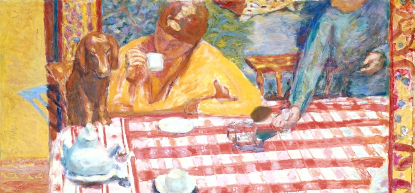 painting showing two women at table with red checked cloth