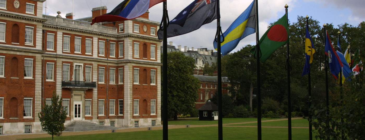 Marlborough House exterior with flags of Commonwealth countries