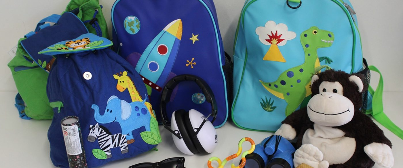 Colourful backpacks with multi-sensory objects