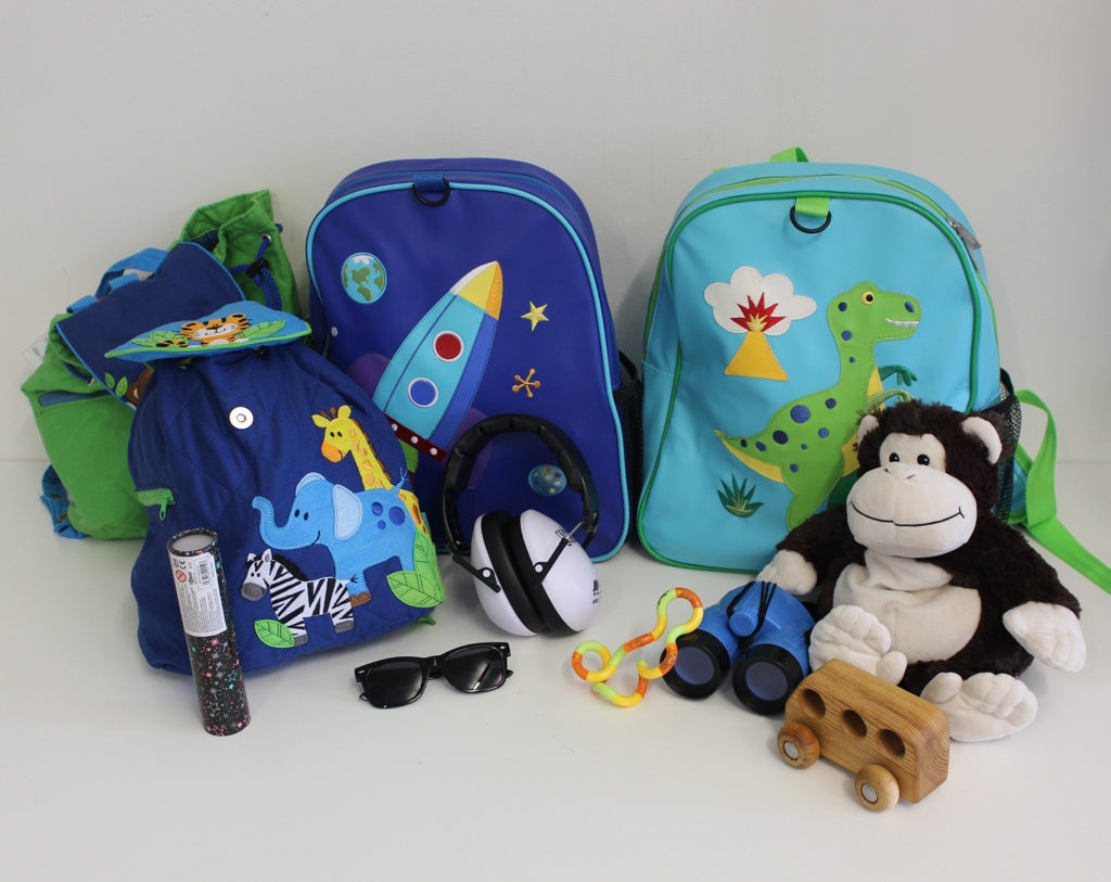 Backpacks with multi-sensory toys and resources