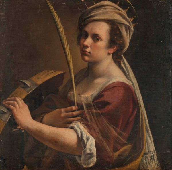 Oil painting of woman holding wheel and palm frond