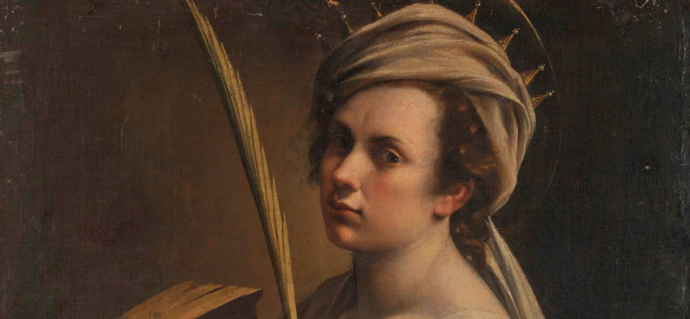 Detail of Artemisia Gentileschi's face looking at the spectator