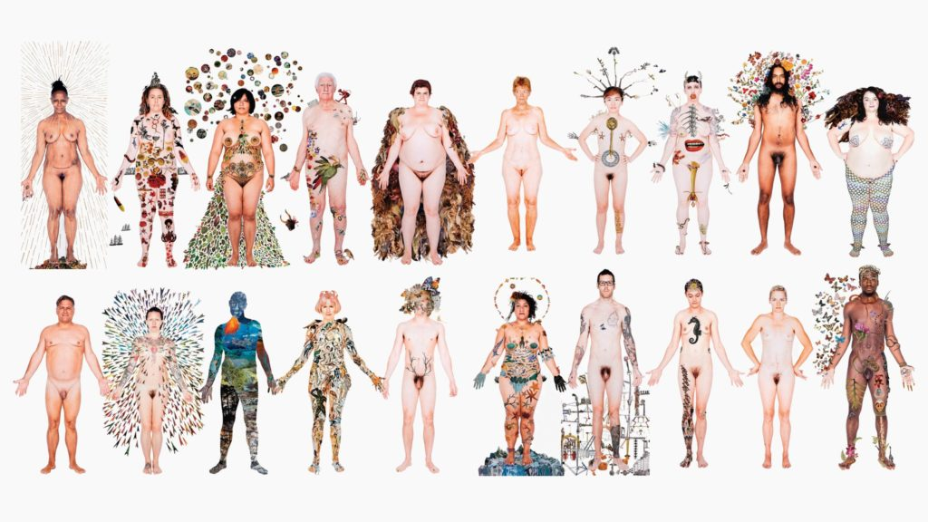 Artwork called 'No Human Being Is Illegal (in all our glory)', by artist Deborah Kelly, 2014-2018. The image shows 20 colour photographs of 20 individuals in full length. Each person has been photographed naked against a white background, and then embellished with collage, which covers and surrounds their bodies.
