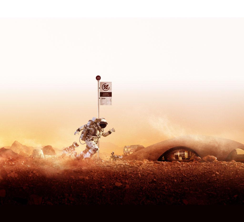 An astronaut runs past an 'earth shuttle' bus stop in a glowing orange dusk landscape