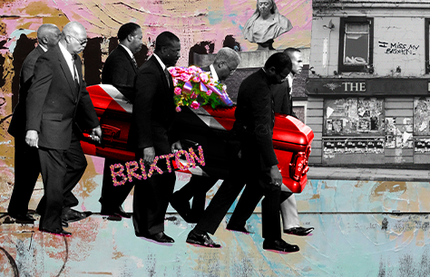 A group of men carry a coffin that is painted brightly in a Union Jack flag. One man holds a floral arrangement in the shape of the word BRIXTON. They are walking down a sombre street in front of a closed down pub.