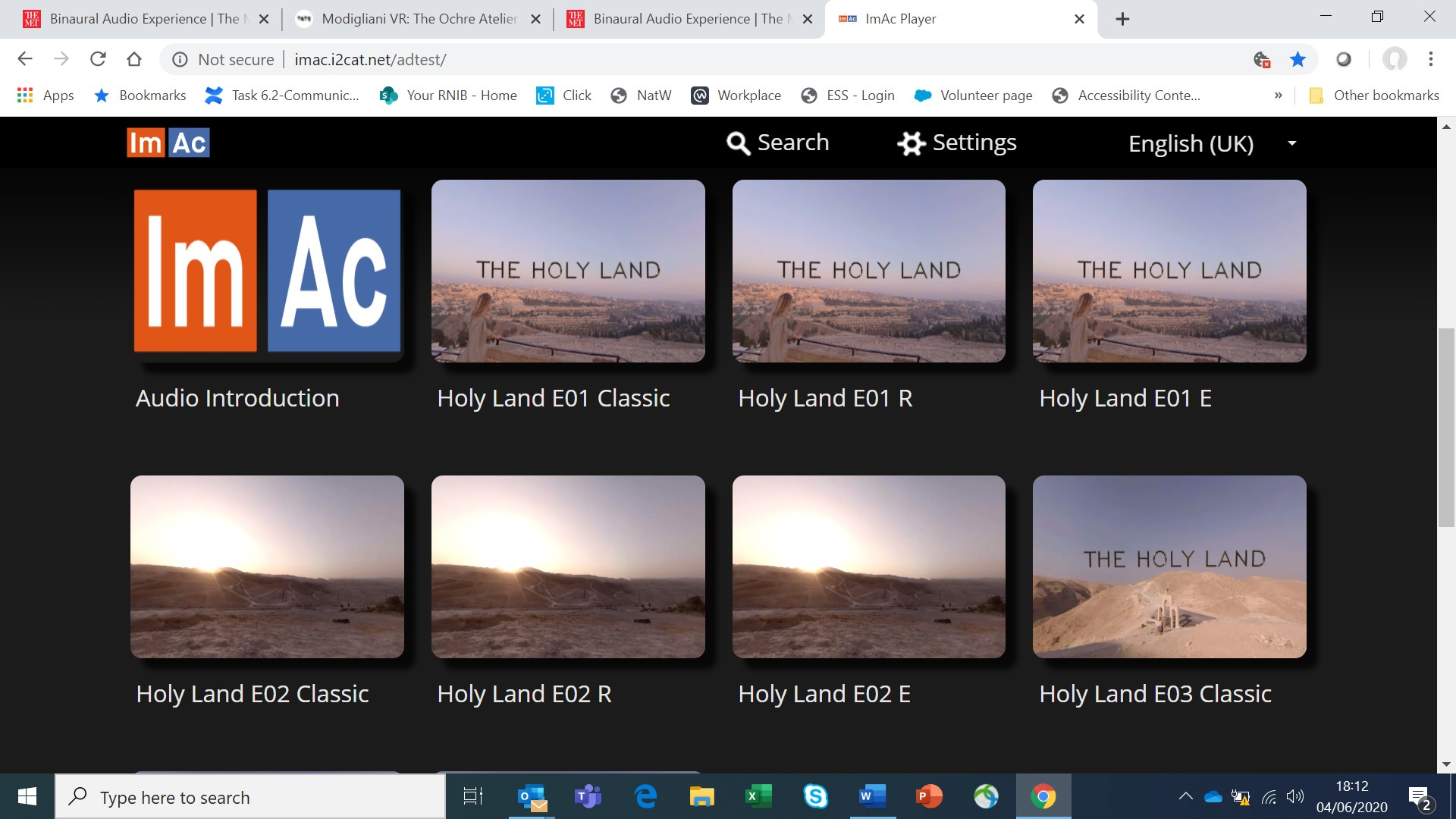 Imac software showing different versions of 360 video