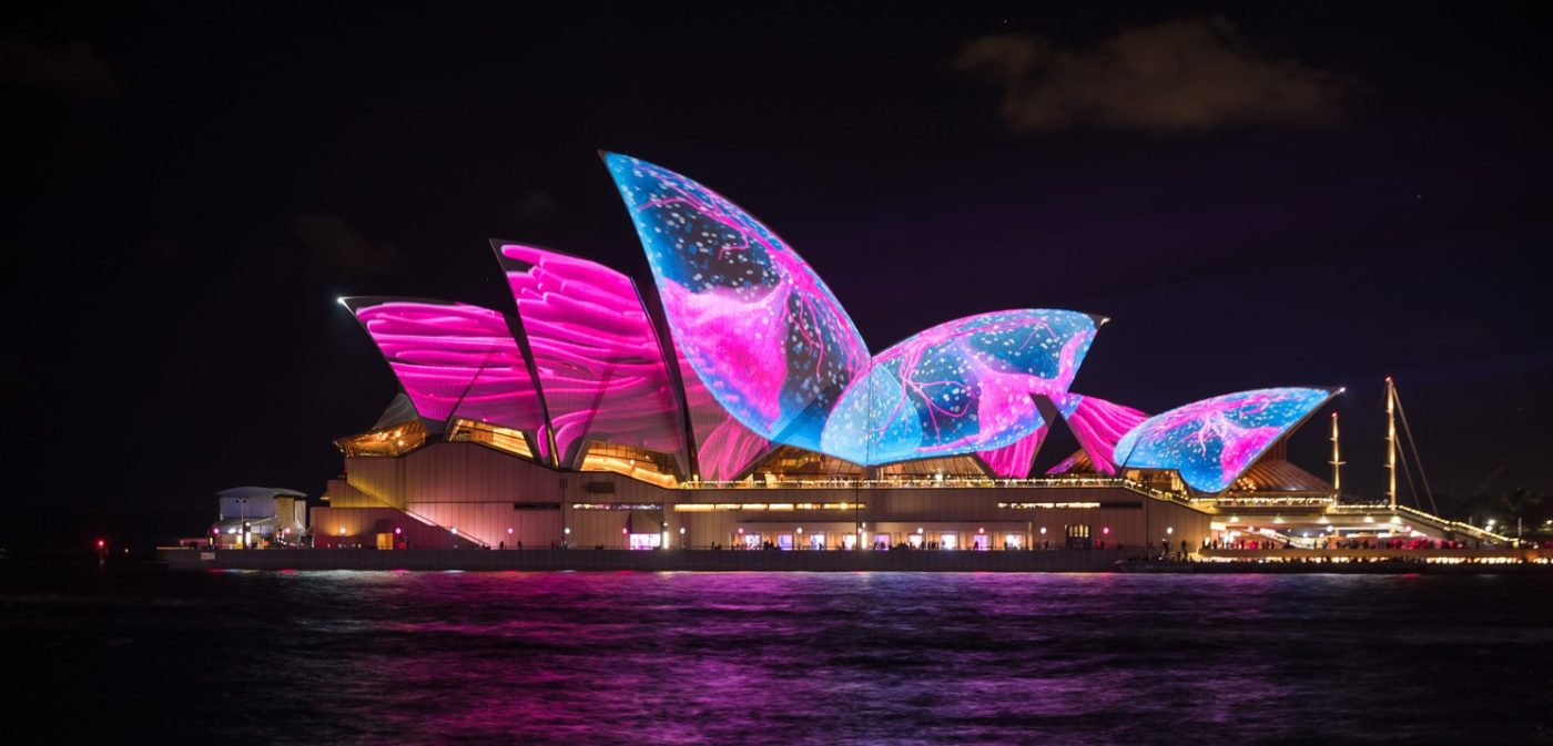 Sydney Opera House with light projection