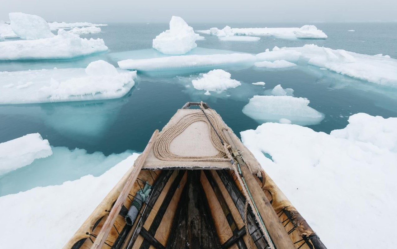 Prow of boat on Arctic sea