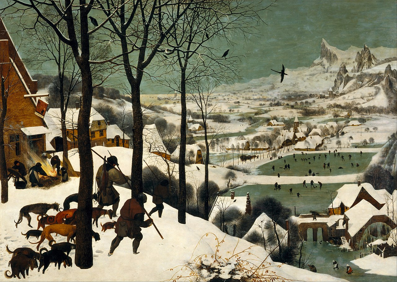 Painting of hunters in snowy winter scene with