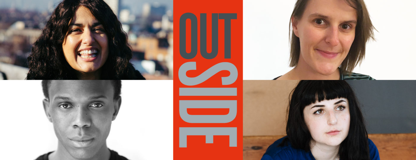 Publicity image for Outside, at Orange Tree Theatre. Writers Bhattacharyya, Zoe Cooper and Kalungi Ssebandeke; and director Georgia Green.