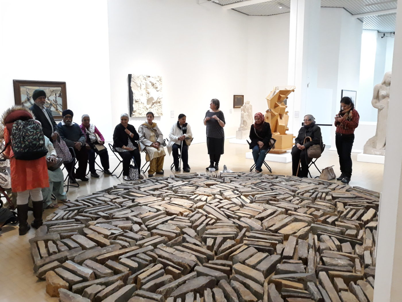 Sally Booth leads a creative sculpture workshop at Leeds Art Gallery, for VocalEyes and Art UK Sculpture