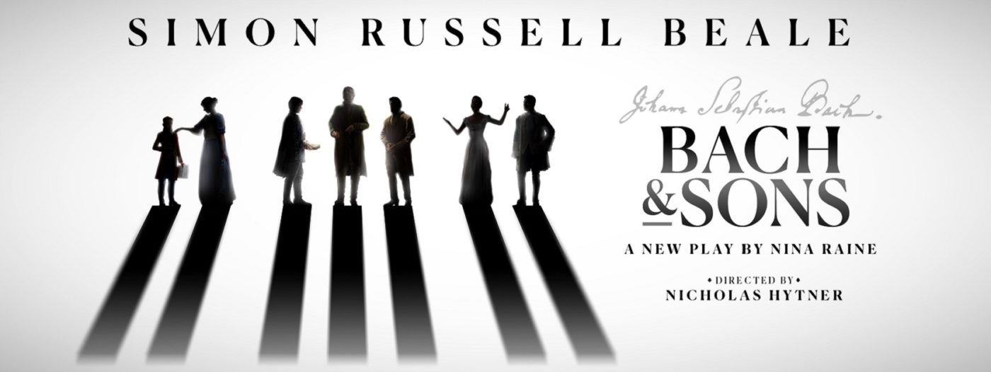 """Along the top in large bold capitals: Simon Russell Beale. Groups of Silhouetted men, women and a child in baroque period costumes gesticulate, their shadows solid oblongs stretching to the bottom of the image. To the right Johann Sebastian Bach's signature is reproduced, below this """"Bach & Sons"""" in large bold capitals, then """"A New Play By Nina Raine"""", and at the bottom of the page: """"Directed by Nicholas Hytner""""."""