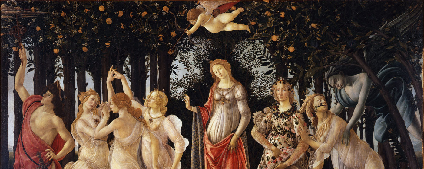 Primavera by Sandro Botticelli, painted around late 1470s. A group of figures from classical mythology in a garden. In the centre of the image there is Venus and Cupid; to the right, Flora, Chloris and Zephyru; and to the left, the Three Graces and Mercury.