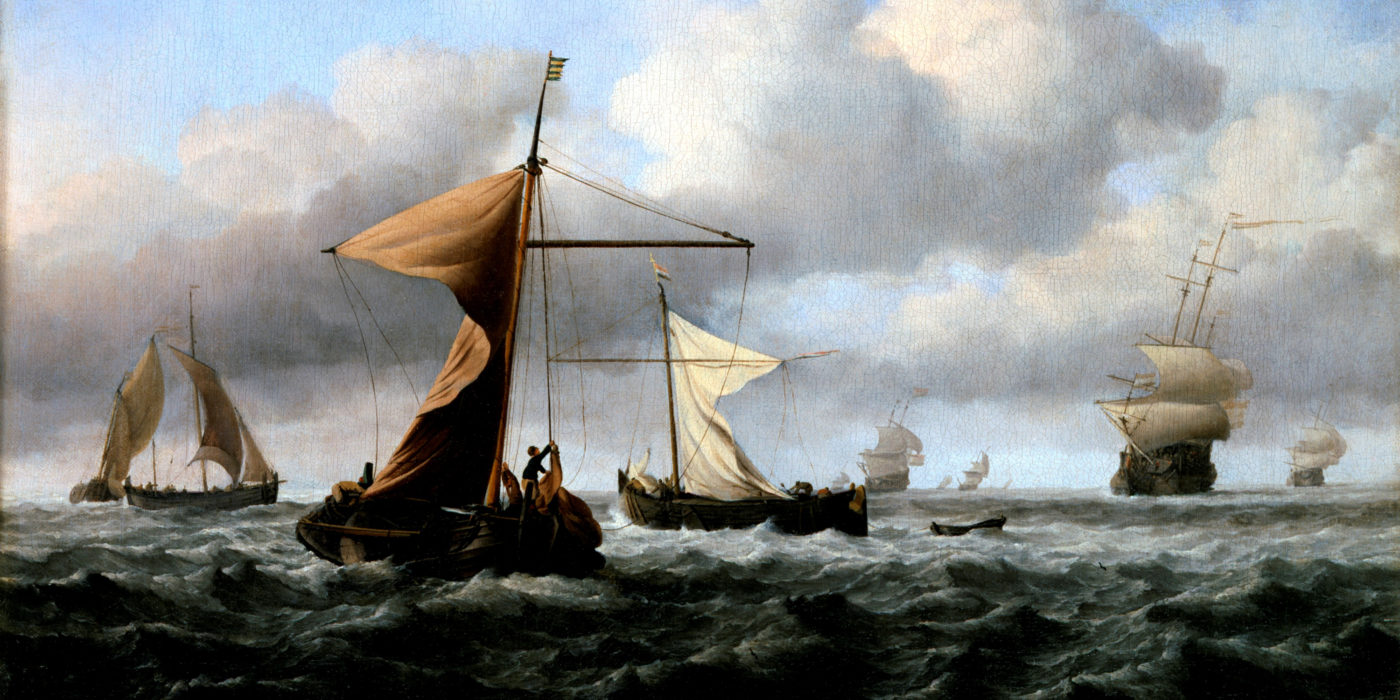 """An oil painting, """"A Brisk Breeze"""" by Van de Velde. A seascape with a number of boats, including a small fishing boat in the foreground and a warship in the distance."""