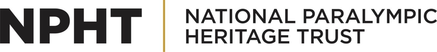 Event image: official logo of the National Paralympic Heritage Trust. On the left-hand side there is a figure in black made up of multiple cursive lines. On the right-hand side of the figure is a yellow vertical line which separates the figure from the large, black and bold letters NPHT. Beneath these letters are the words National Paralympic Heritage Trust.