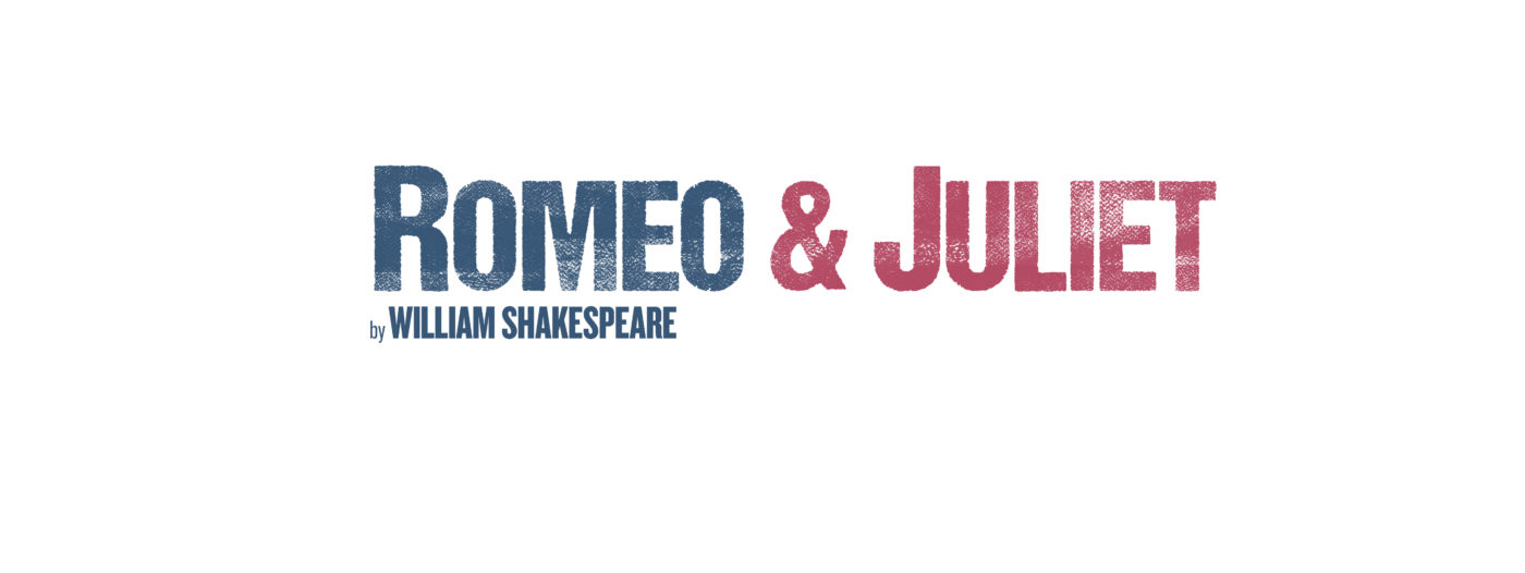 "In block capitals: ""Romeo & Juliet"" Romeo is typed in a dark matt black, & Juliet in a dark red. The words have areas of white indicating that like a pair of jeans they are faded/worn. ""By Williams Shakespeare"" appears directly below ""Romeo"" in the same blue but a smaller font and not withered by age."