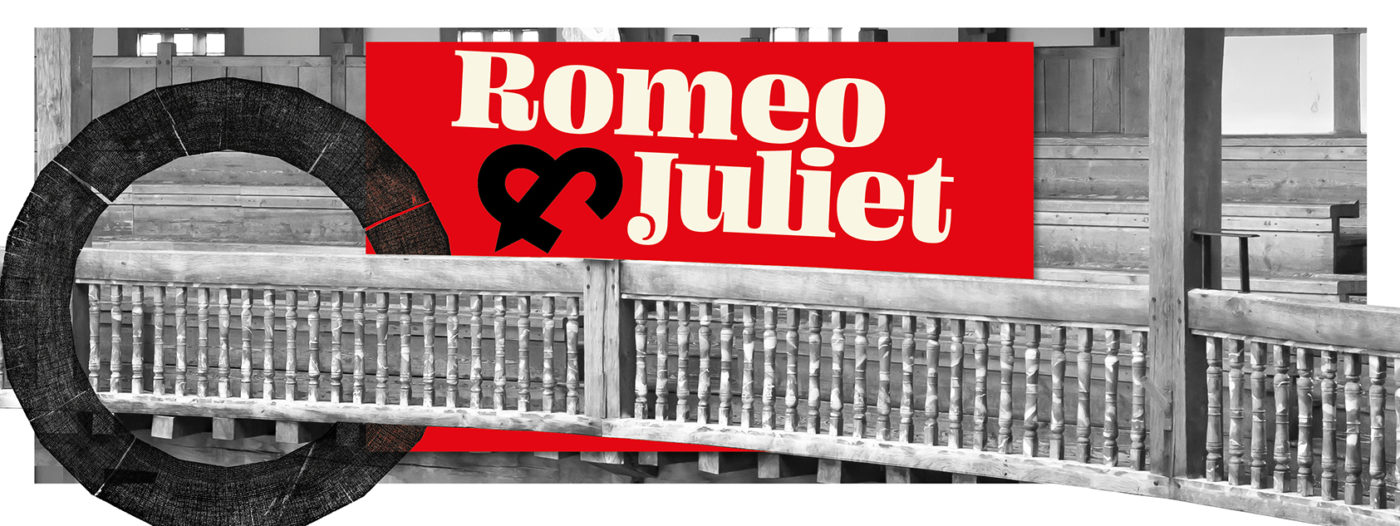 """A promotional image for Romeo and Juliet using a black and white picture of a seating gallery at the Globe. The Globe's Wooden O symbol is superimposed to look like it is hooked on the wooden balustrade. A bright red oblong in the centre of the image has """"Romeo"""" and """"Juliet"""" in cream, with the & symbol in black."""