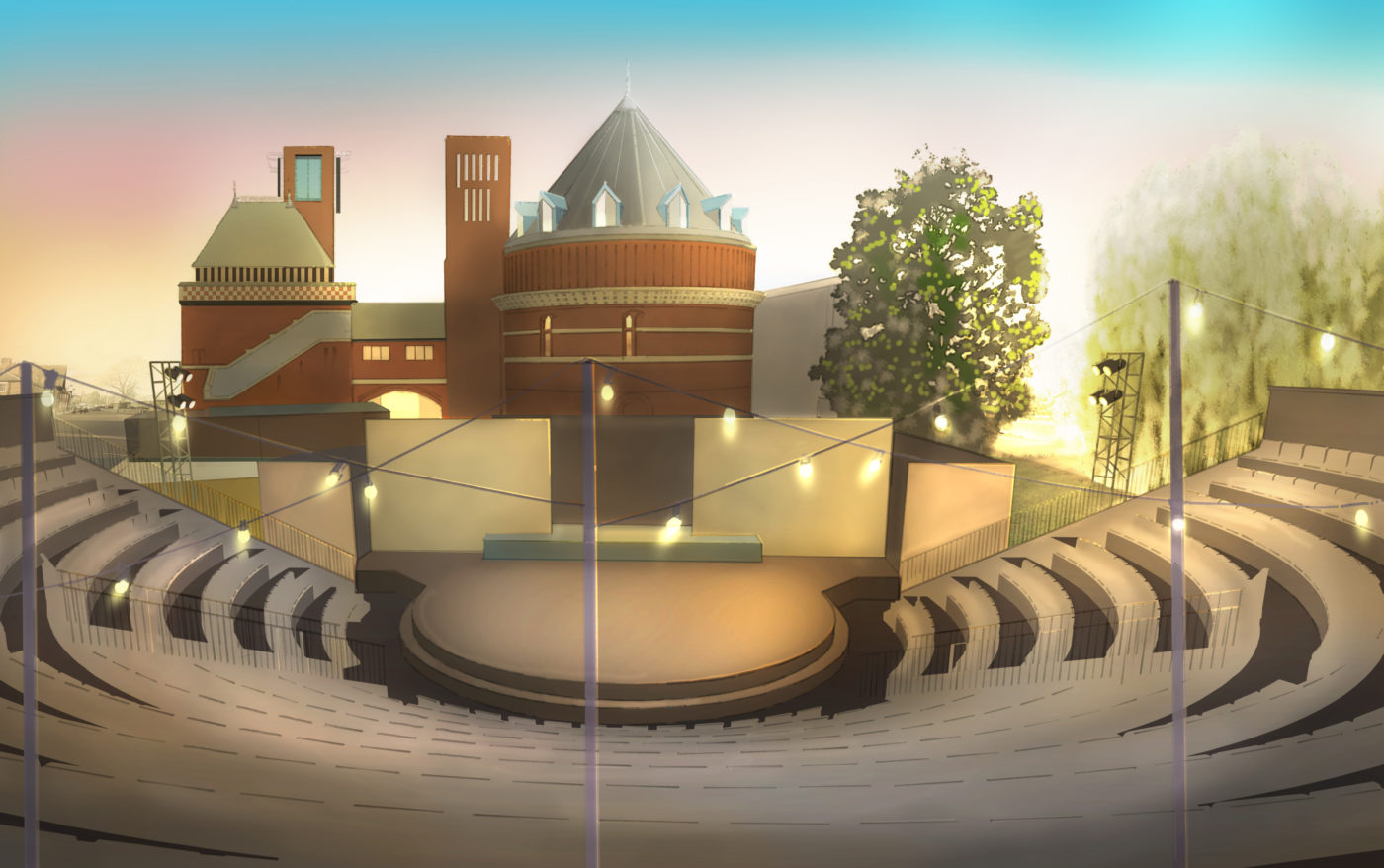 A mock-up representing the Lydia & Manfred Gorvy Garden Theatre once built. At the foreground, the stalls go down until the stage. At the back of the stage, the Royal Shakespeare Theatre building.