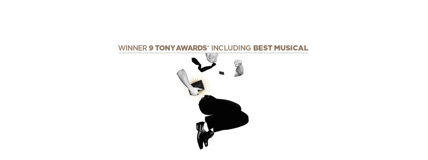 A man in white shirt, black tie and black trousers jumps energetically, smiling widely. In one hand he holds a copy of the bible, sparks of gold shine from the pages. Above him are the words, Winner 9 Tony Awards including Best Musical.