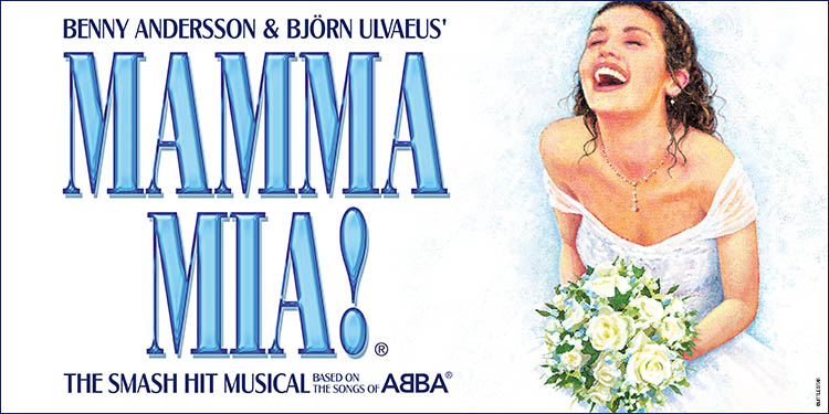 A trail of lightbulbs sparkle along the top of the image which shifts from blue at the top through purple to white along the bottom. Text: BENNY ANDERSSON & BjÖRN ULVAEUS' MAMMA MIA! THE SMASH HIT MUSICAL BASED ON THE SONGS OF ABBA. To the right a young woman in a wedding dress clutches a bouquet of white roses, her face tilted upwards, eyes closed, mouth smiling and wide open.