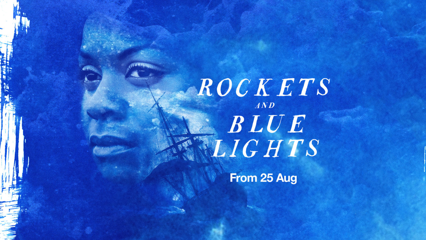 A blue cloudy background at Sea, Lou is seen from the neck above lost in her stare. There's a shadow of a ship across one side of her face. Text reads Rockets and Blue lights