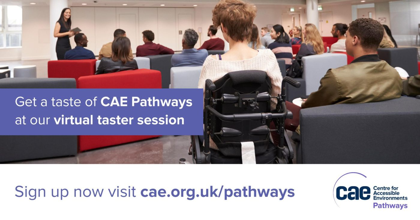 'A group of young people are seated, listening to a female speaker who is giving a presentation. The text on the image reads, Get a taste of CAE Pathways at our virtual taster session'