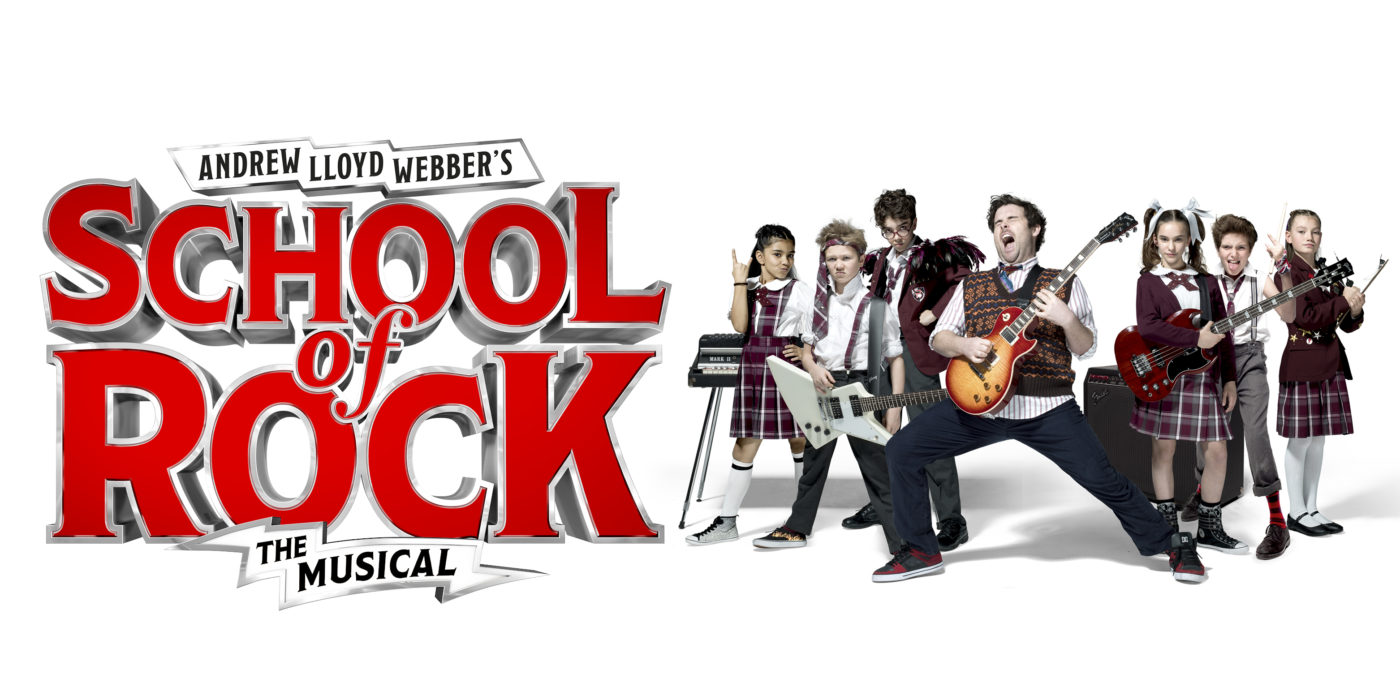 A group of six children wearing school uniforms but teamed with pumps, ties worn around their heads holding guitars, a keyboard and an amp surrounding them. They are fronted by their teacher strumming a guitar with his eyes closed letting out a rock star scream. On a white background text reads: Andrew Lloyd Webbers School of Rock