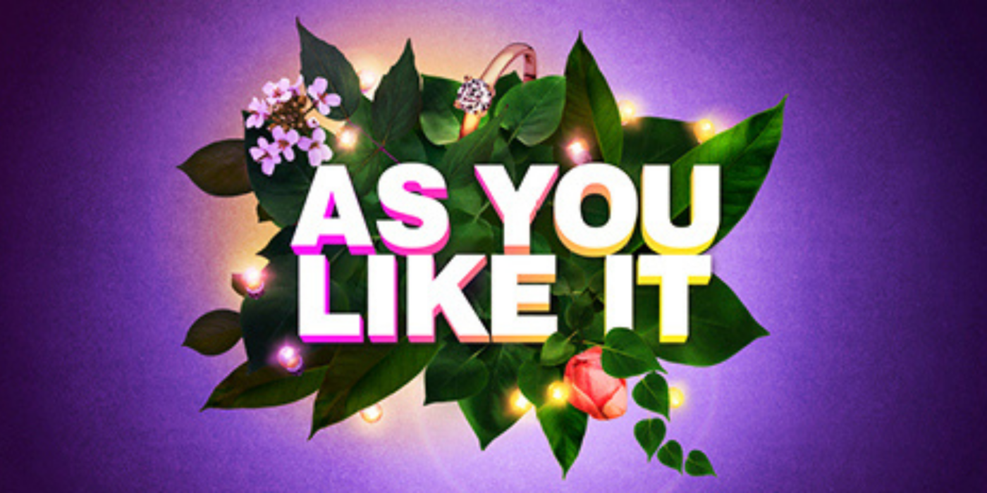 A bright purple background. A cluster of cartoon-style leaves in the centre. An engagement ring, romantic fairy lights and a spray of beautiful flowers are nestled between the leaves. Text pops from the middle. It reads: As You Like It.