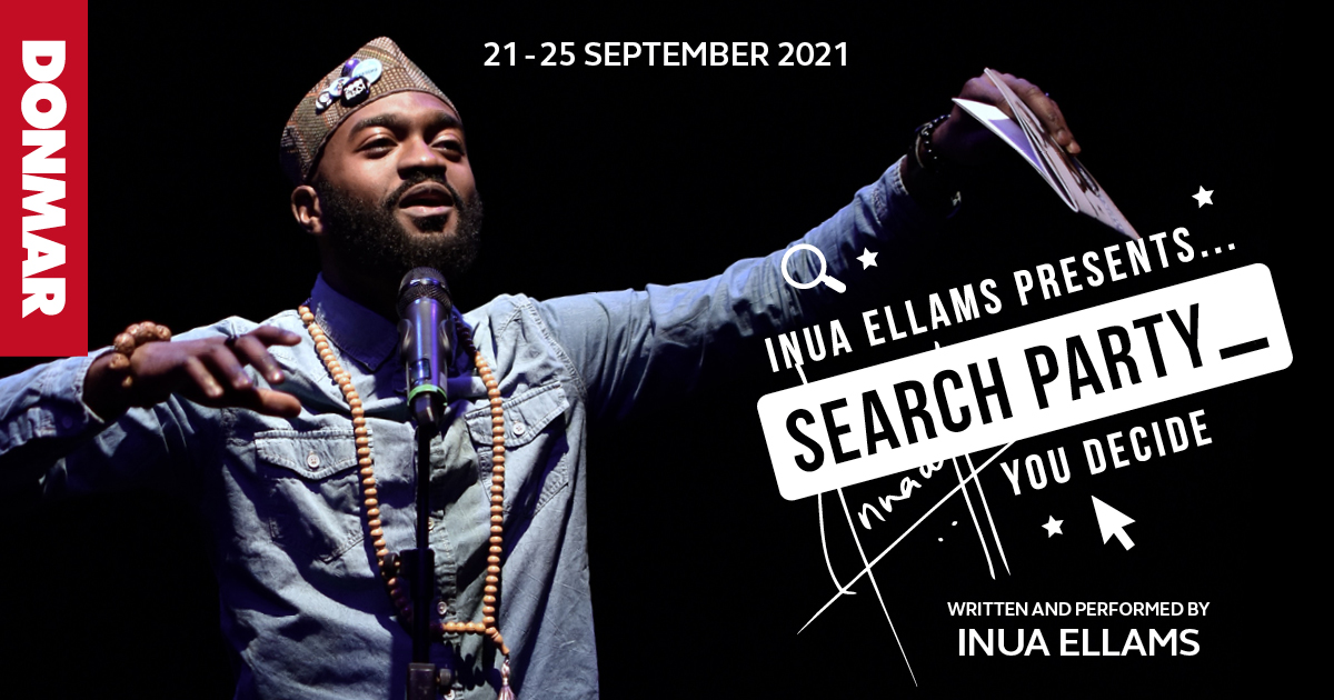 A young black man dressed in denim shirt with a long chain of brown beads around his neck and a small brown tweed hat. He stands in front of a microphone, both arms raised to shoulder height, holding a script in his left hand. Text reads on a black background Inua Ellums presents Search Party - you decide