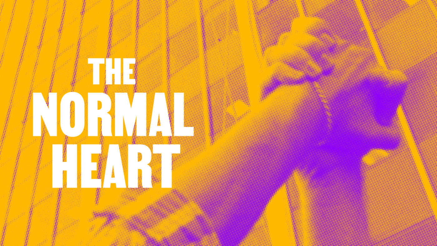 The hands of two people are clasped together and held high in front of a city building. The title in white reads, The Normal Heart.
