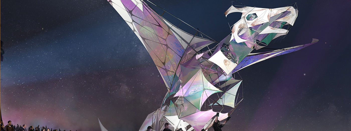 A giant iridescent dragon puppet spreads its wings against a night sky