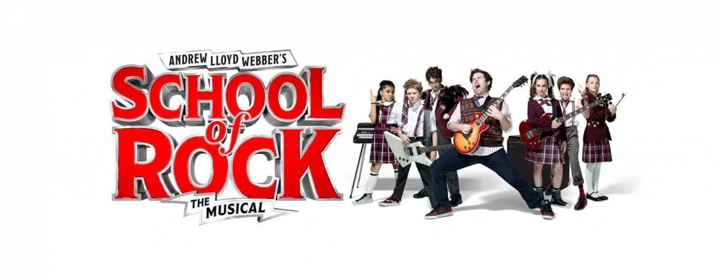 A man in a woolen vest and a bow tie, takes a rock-star pose and plays a chord on an electric guitar, his eyes closed and mouth open wide. Behind him, school children are ready to take to the stage, scowling into the camera as they hold their instruments. The title Andrew Lloyd Webber's The School of Rock The Musical is written in a heavy metal-font.