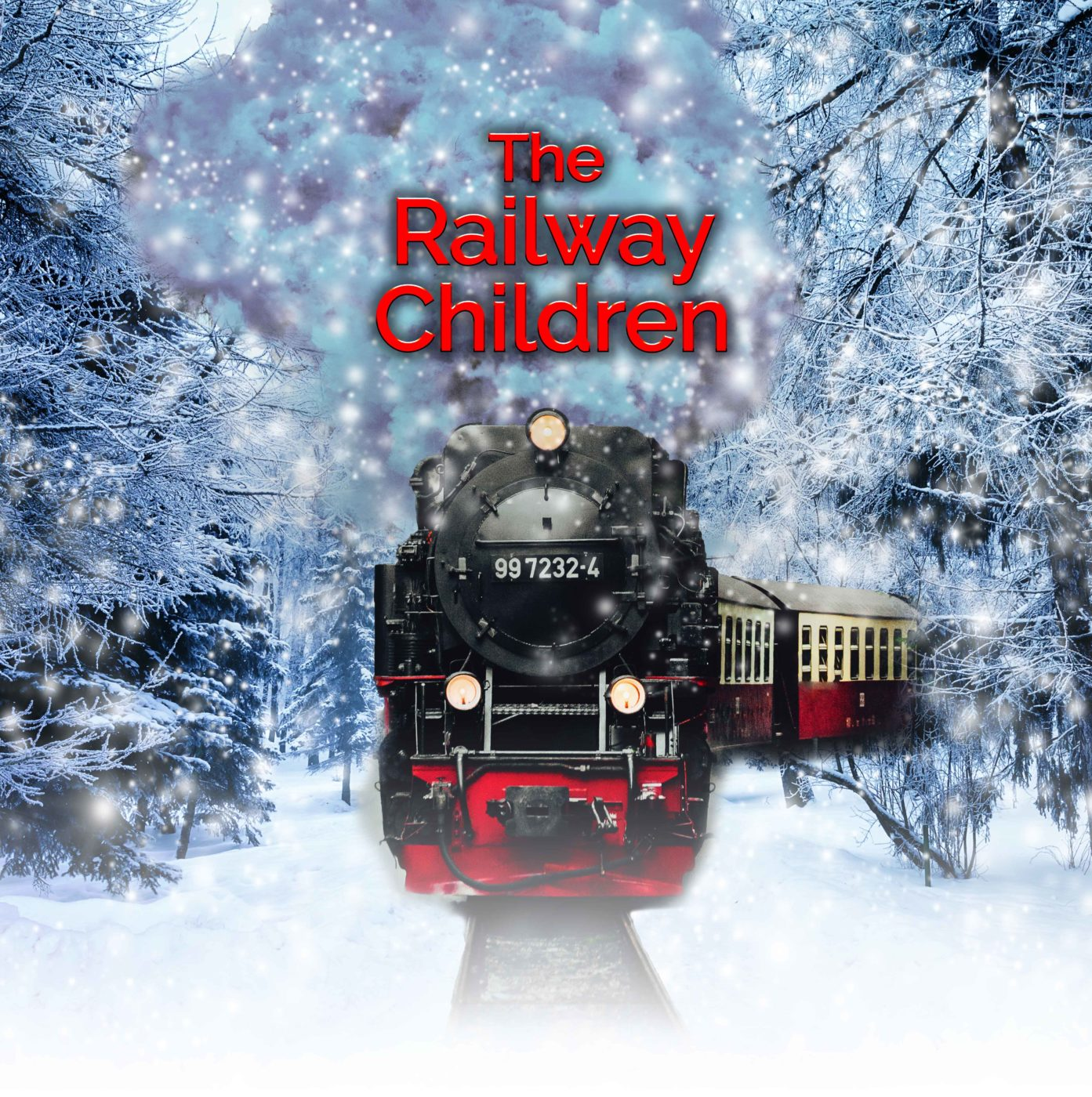 A classic black, red and white steam train heads through a winter forest that sparkles with snowflakes. Above the train's engine are the words, The Railway Children.