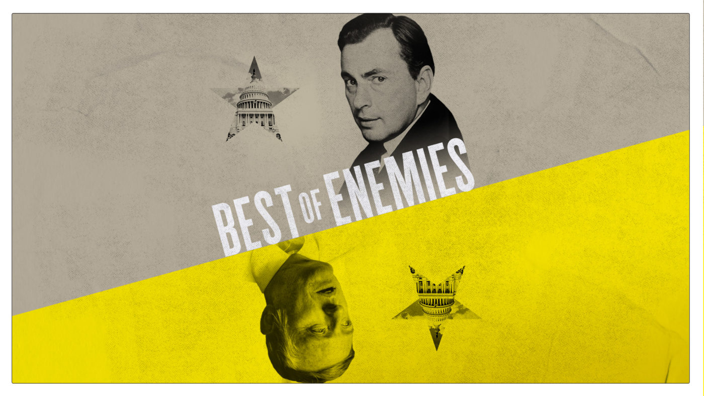 A grey and yellow background with the heads of two figures, inverted to reflect each other, of Gore Vidal and William F Buckley Jr. Beside each head is a star, and within each star is the Capitol building in Washington DC. Words read 'Best of Enemies'.