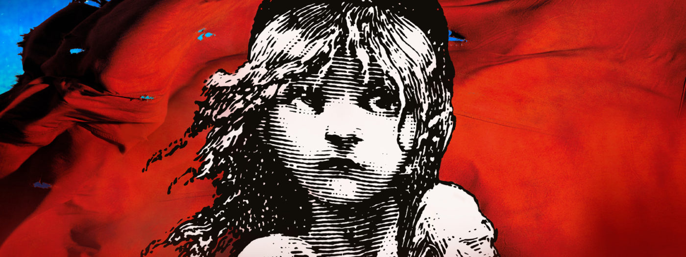 A revolutionary red flag with a black and white drawing of a young solemn girl, hair blowing to the left, eyes looking to the top right with torn clothes.
