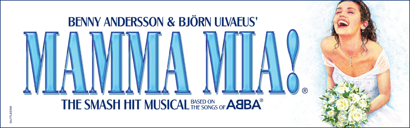 Publicity Image for Mamma Mia. White back ground with graphic to the right of a smiling, brown haired female in off-the-shoulder, white wedding dress holding a white floral bouquet. Blue text on left with title of show and writers Benny Andersson and Bjorn Ulvaeus headlined.