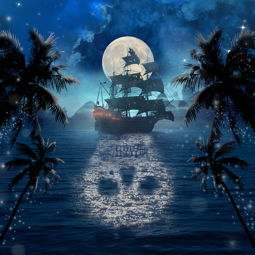 The silhouette of a pirate ship appears in front of a full moon. The night sky is ominous with clouds and stars and, in the distance, is a mysterious land. The ship makes the shadow of a white skull on the water.