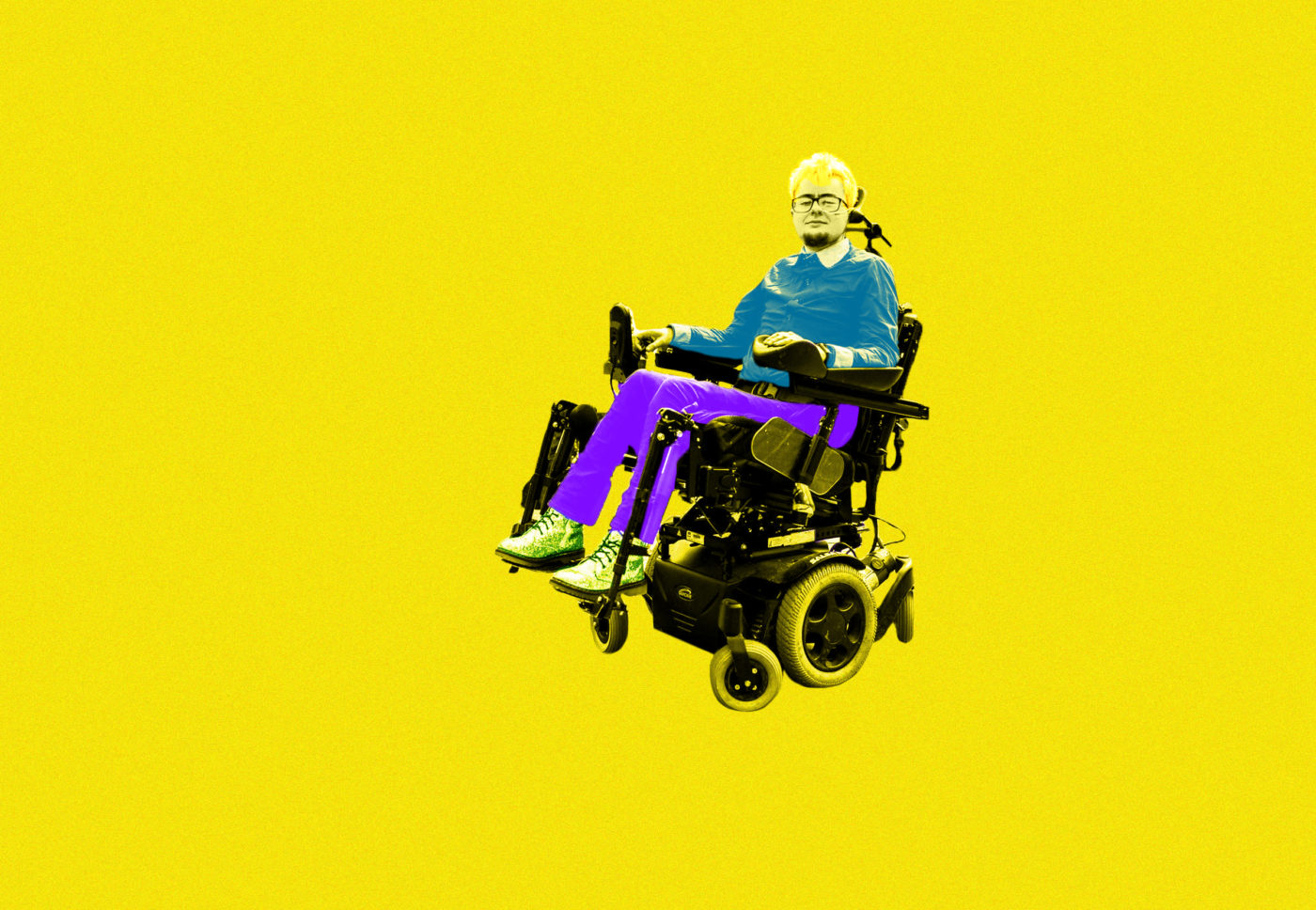 Jamie Hale is shown in a pop art style in their powered wheelchair. The colour of their photograph has been made black and white and then their trousers have been painted purple and their top is blue. The background is yellow and the words CRIPtic span the width of the image in red bold font behind Jamie.