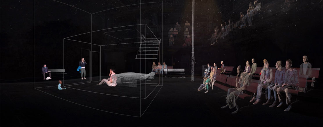 A dark auditorium with a seated audience at two levels. On the stage, a silhouette of a flat organised in two levels and a domestic scene taking place. The world is presented with a granulated texture; people and objects morph and shift.