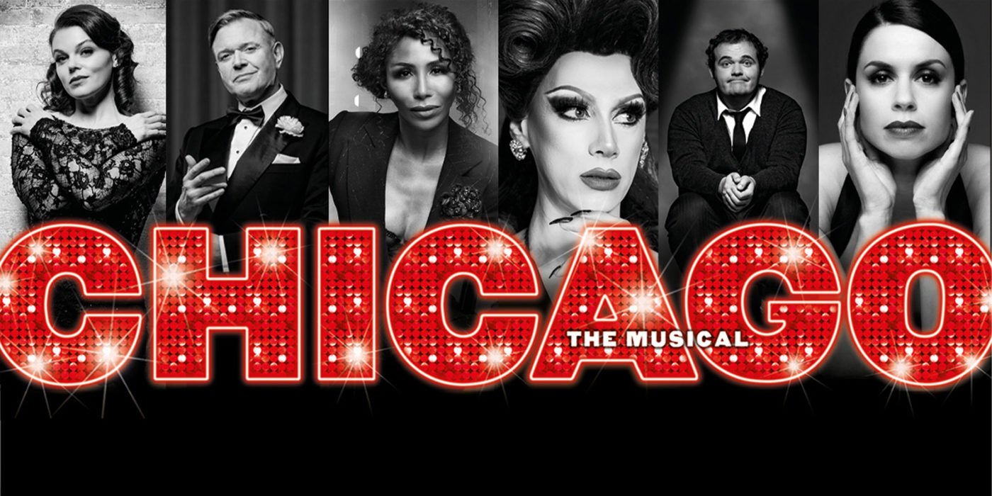 A dazzling red sign announces Chicago. Behind black and white images of the stars as their on-stage personas - Faye Brooks, Sinitta, Darren Day, Divina De Campo, Djalenga Scott and Joel Montague.
