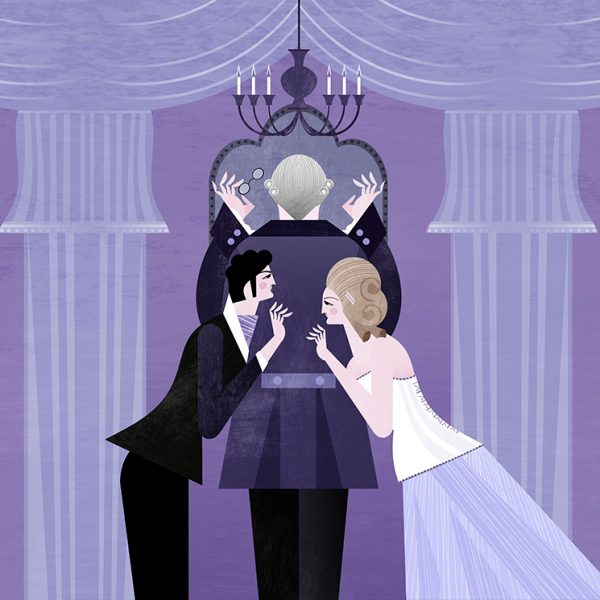 A cartoon illustration shows a man in a powdered wig checking his reflection in a mirror. Behind his back, a young man and woman lean together conspiratorially.