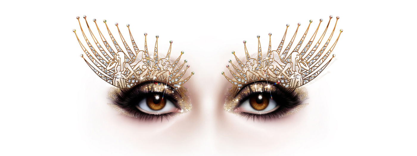 A close up of a pair of beautiful brown eyes. Sparkling makeup on her eyelids shows representations of Cher performing in various styles. The CHER Show appears below in glittery gold lettering, along with the words: Book by Rick Elice, Directed by Arlene Phillips, Choreography by Oti Mabuse and Costumes by Gabriella Slade.