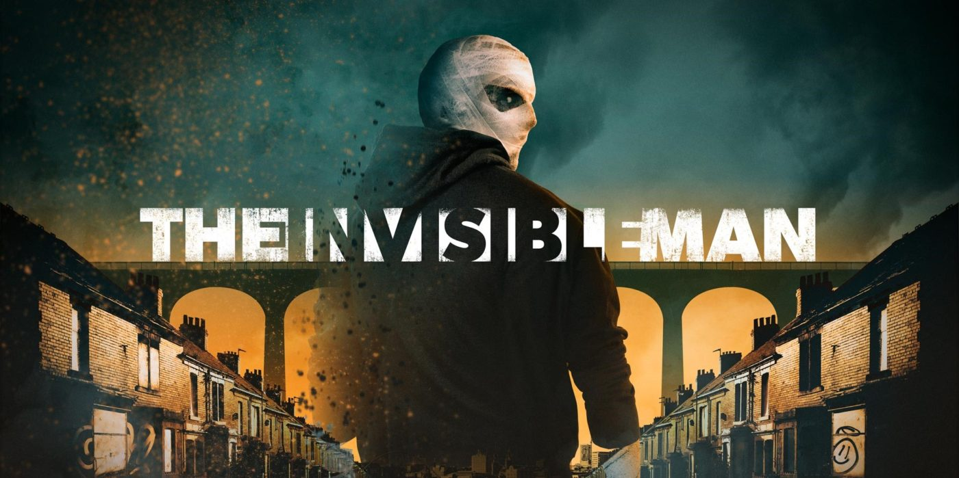 On a street of terraced houses with a railway bridge in the background, an ominous figure in a hoodie turns towards us, his head and face covered in white bandages. Text across the page, half visible, half only legible against the man's dark top, reads The Invisible Man.