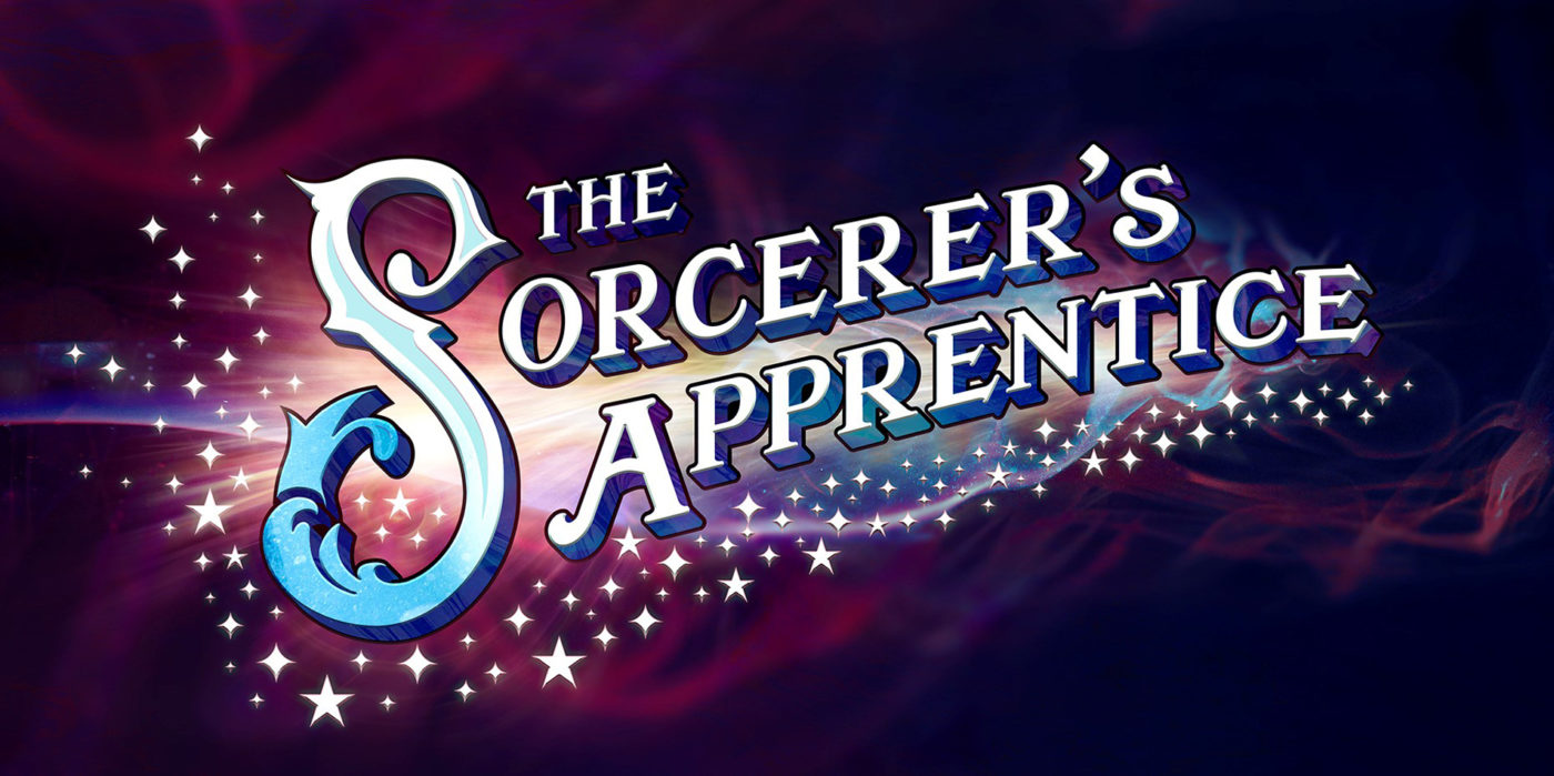 The words 'The Sorcerer's Apprentice' spread across the page, surrounded by white stars and smokey magical light.