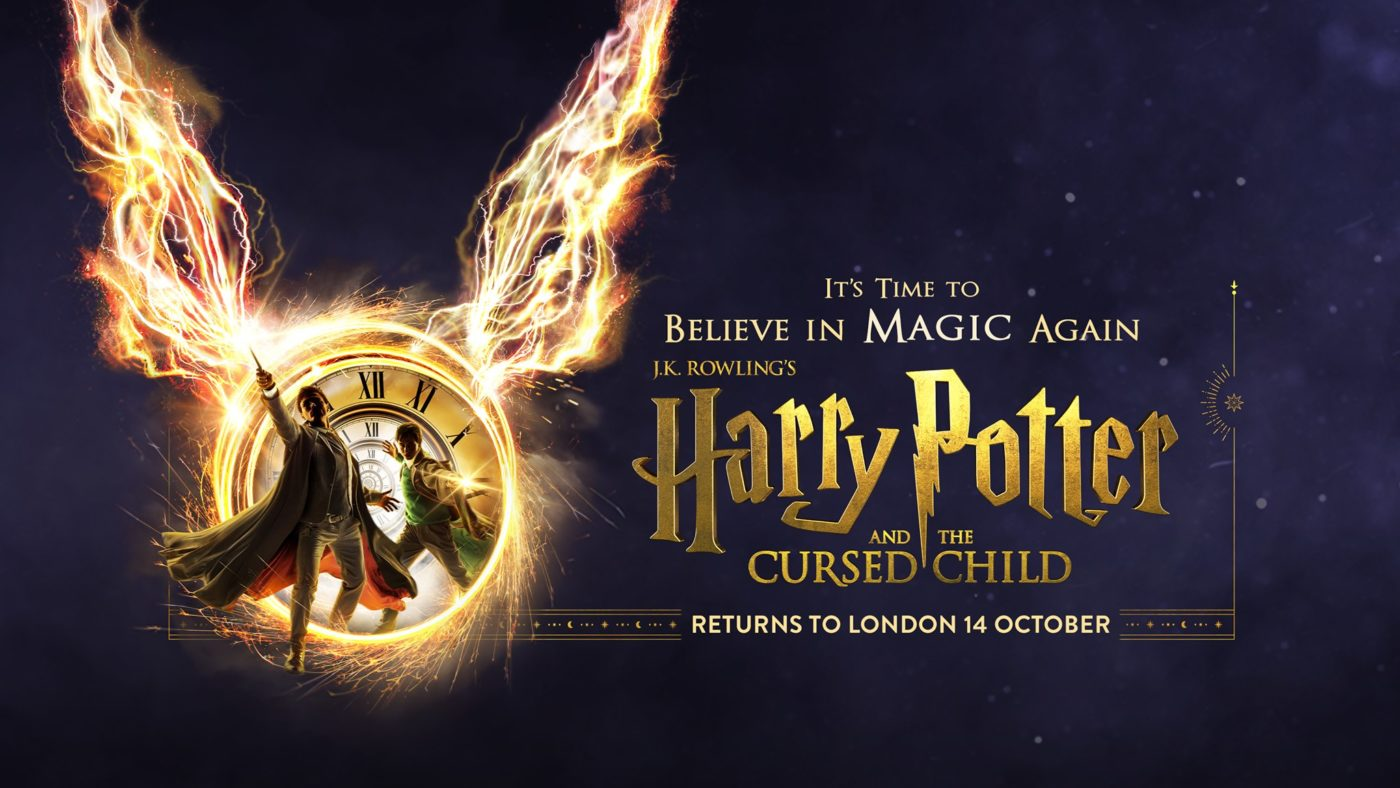 Two young men step out of a clock face that is sparkling with flames, each of them points a magic wand that shoots out dramatic lightning. The text reads, It's time to believe in magic again. J.K. Rowling's Harry Potter and the Cursed Child.